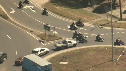 The bikies blocked traffic as they arrived at their clubhouse in Sunshine West.