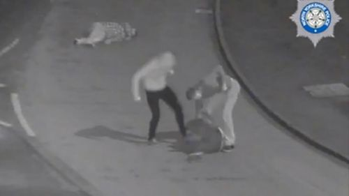 A Buckingham Palace guard and another soldier have escaped a jail sentence after video emerged showing them kicking a man in the street. (Supplied)