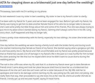 The woman has explained her ordeal on Reddit, asking for opinions on how she chose to handle it.