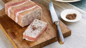 Pheasant and ham hock terrine with rhubarb-apple chutney