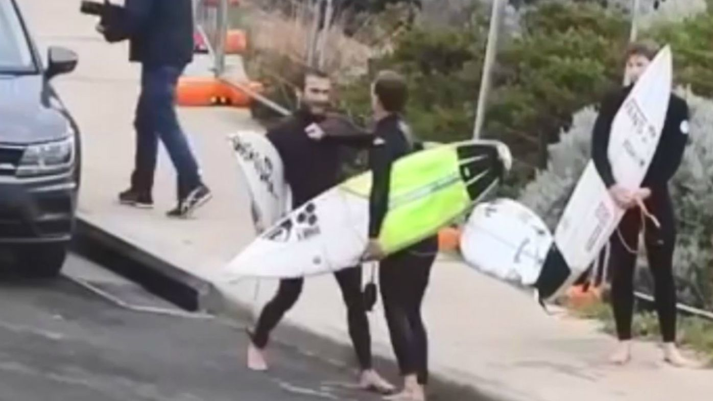 Australia's Mikey Wright involved in tussle with Brazil's Jesse Mendes at Margaret River Pro