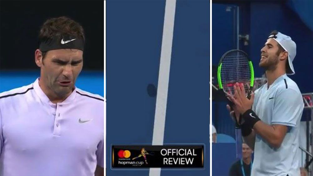 Roger Federer sees the funny side of Hawk-Eye after Hopman Cup win over Russia