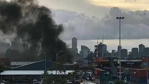 Black smoke billows over West Melbourne after truck fire