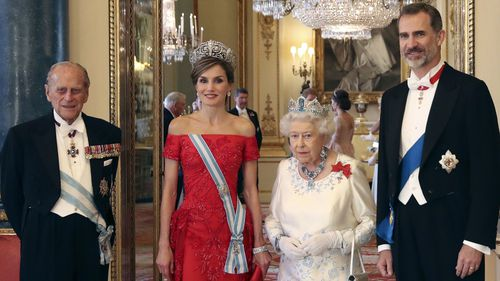 Prince Philip and Queen Elizabeth welcomed Spain's King Felipe and Queen Letizia to Buckingham Palace for a state banquet last month. (AFP)