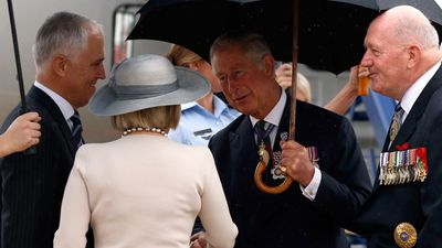 Prince Charles greets Prime Minister Malcolm Turnbull and his wife Lucy. (AAP)