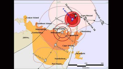 As Lam moves south across the Territory, the BoM shows in its predictions it will slow to a category two.