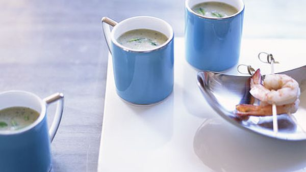 Prawn, cucumber and mint soup