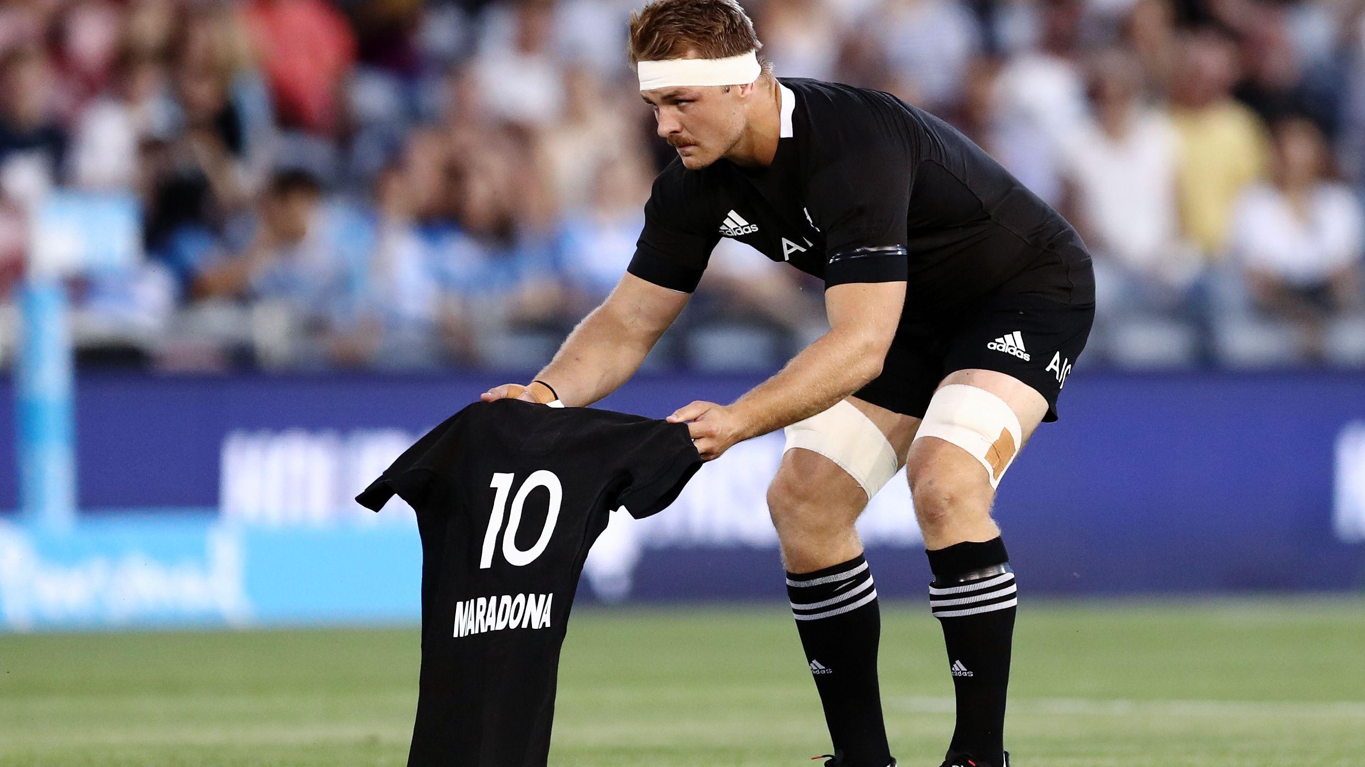 All Blacks honour Diego Maradona with classy pre-game jersey tribute