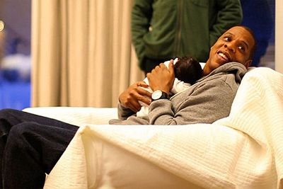 """...with baby Blue Ivy.<br/><br/>""""At the end of the day, I just know I'll probably have the worst, spoiled little kid ever."""""""