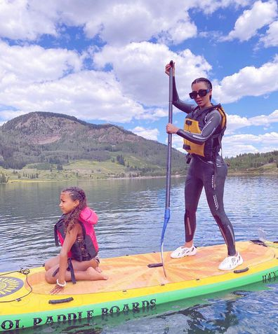 Kim Kardashian, North West, lake, vacation