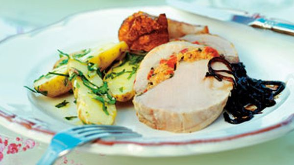 Roast pork with red capsicum & olive stuffing