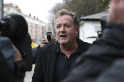 Piers Morgan outside his London home