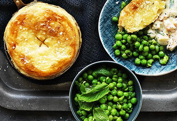Creamy Australian prawn pot pies with minted peas