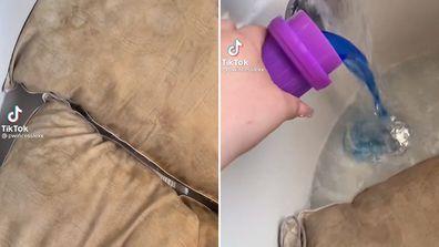 Woman strip washes husband's pillows on TikTok