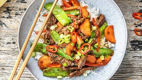 Mongolian beef and snow pea stir fry