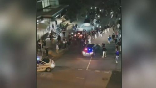 Concertgoers were attacking each other and police. (9NEWS)