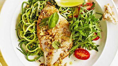 """Recipe:&nbsp;<a href=""""http://kitchen.nine.com.au/2016/05/20/10/00/weight-watchers-chicken-with-zucchini-noodles"""" target=""""_top"""">Weight Watchers' chicken with zucchini noodles</a>"""