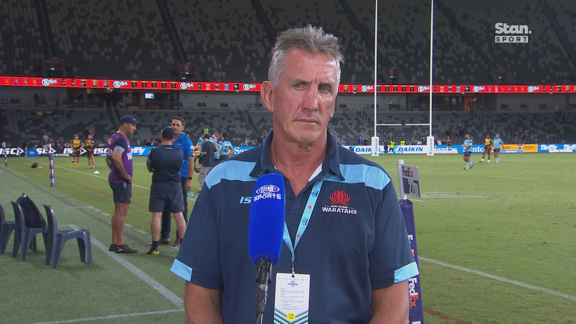 Waratahs coach Rob Penney's testy post-match interview after 20-16 Super Rugby loss to the Force