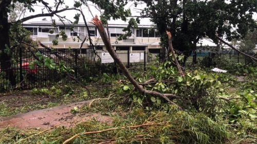 Trees came crashing down as a result of powerful winds in Porpuraaw. (Supplied)