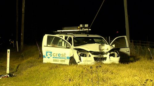 The 35-year-old driver was found suffering a gunshot wound at the crash on The Northern Road. Picture: 9NEWS