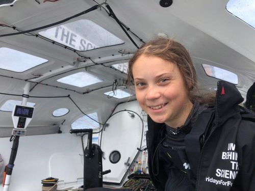 The crew currently sails to the US for the UN Climate Action Summit on the racing boat Malizia II. The journey started on 14 August and is expected to take about 2 weeks.