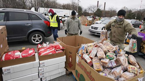 A food bank is organised to help hungry families in Cleveland, Ohio.