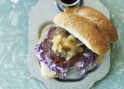 "<a href=""http://kitchen.nine.com.au/2016/05/19/15/49/pork-burgers-with-pear-relish-and-onion-rings"" target=""_top"">Pork burgers with pear relish and onion rings<br> <br> </a>"