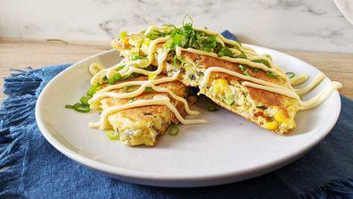Okonomiyaki Japanese style fritter pancake