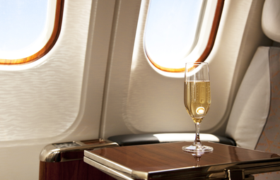 Business class seat with champagne
