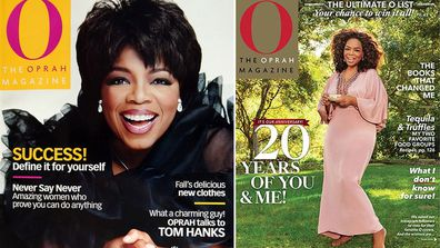 O The Oprah Magazine September 2001 issue and April 2020 cover
