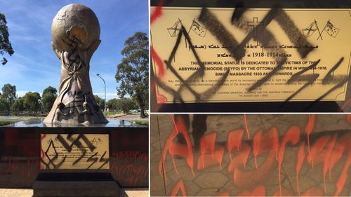 'It was heartbreaking': Memorial to victims of massacre defaced in Sydney's west