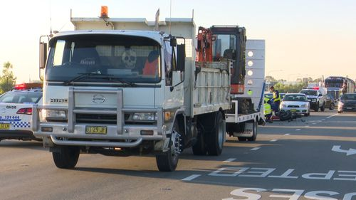 The bike and truck collided at 6.30am. (9NEWS)