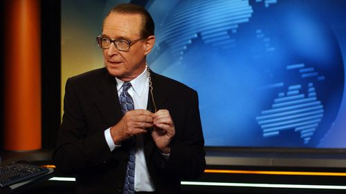 At the anchor desk: Brian Henderson hosted the Sydney weeknight news for Nine from 1957 until his retirement in 2002.