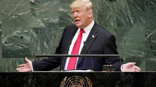 US President Donald Trump delivers a triumphal address, boasting about his administration's accomplishments.