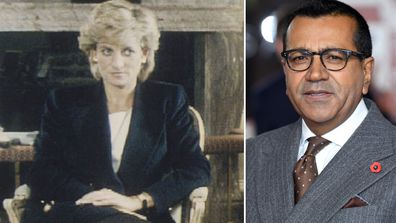 Princess Diana in the Panorama interview (left), Martin Bashir in November 2019 (right)
