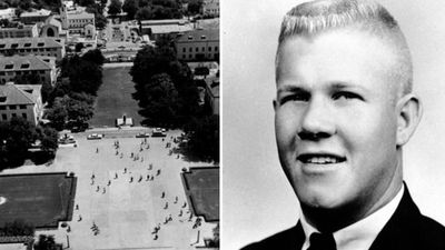 <p><strong>University of Texas Tower shooting, 1966 – 14 killed, 31 injured</strong></p> <p>On August 1, 1966, Charles Whitman, a former US Marine, killed his mother and his wife before going to the top of the University of Texas's administration building and killing 16 people. He wounded at least 30 others before being shot dead by police. (Supplied)</p>
