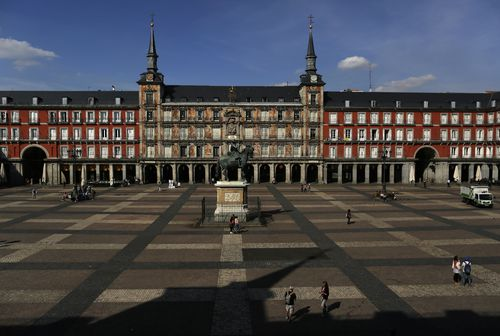 A general view of a deserted Mayor square in central Madrid, Spain after the country went into lockdown.
