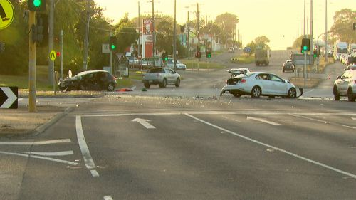 The cars collided at the intersection of Springvale Road and the Princes Highway.