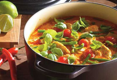 """Recipe: <a href=""""/recipes/ichicken/9062584/thai-red-chicken-curry-with-green-beans-cherry-tomatoes-and-basi"""" target=""""_top"""">Thai red chicken curry</a>"""