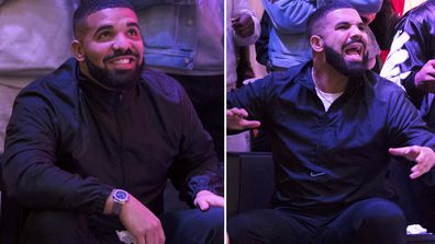 Drake watches a screen alongside other Toronto Raptors fans as they gather to watch Game Six of the NBA Finals.