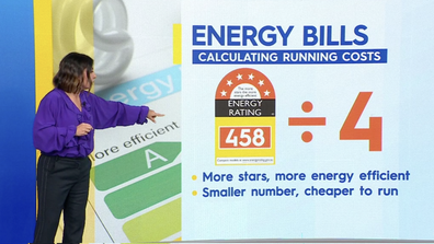 Dividing the energy rating by four will give you the appliances rough running cost per year.
