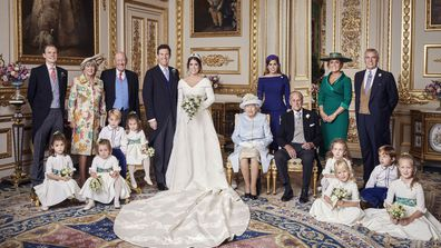 Britain's Princess Eugenie of York and Jack Brooksbank are photographed in the White Drawing Room, following their Wedding, at St George's Chapel, Windsor Castle on Friday, Oct. 12, 2018