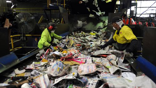Council claims more than half the contents of yellow-top recycling bins are unable to be recycled. (AAP)