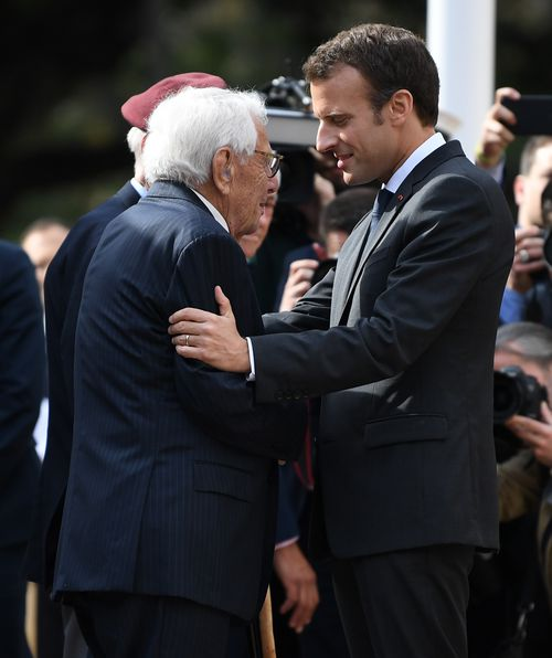 The French President presented the Legion d'Honneur to three Aussie veterans, including Louis Solomons. Picture: AAP