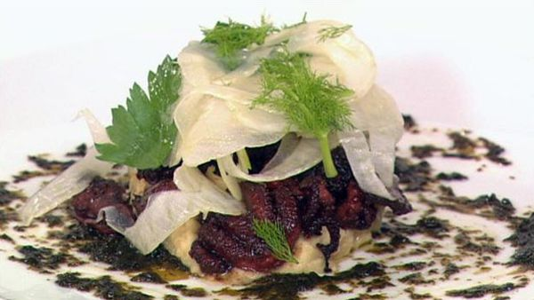 Grilled octopus, fennel, chickpea puree and seaweed dressing
