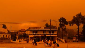 People evacuate during a wildfire Pefki village on Evia island, about 189 kilometres north of Athens, Greece.