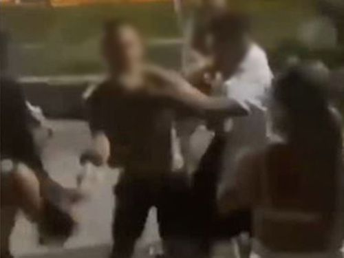 The alleged assault was captured on video.