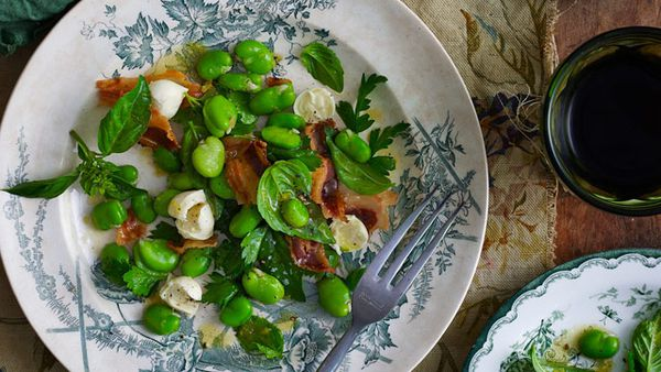 Mozzarella, broad bean and pancetta salad