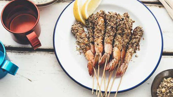 Barbecue prawns with macadamia dukkah and mint lemon yoghurt