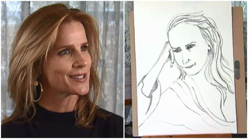 Rachel Griffiths poses for intimate hotel artwork